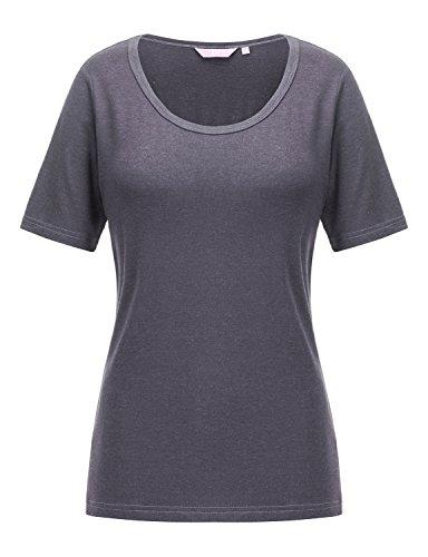 REGNA X Love Coated Woman Light Grey Turtle neck Stretchy yoga cap sleeve Top XL,17504_light Grey,X-Large