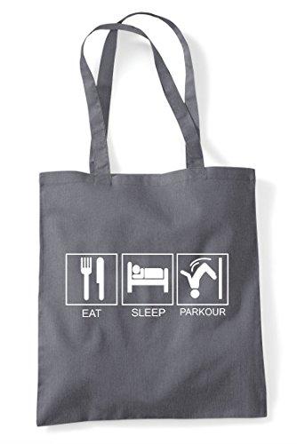Tiles Funny Eat Hobby Dark Grey Parkour Shopper Activity Bag Tote Sleep EqWqFBp