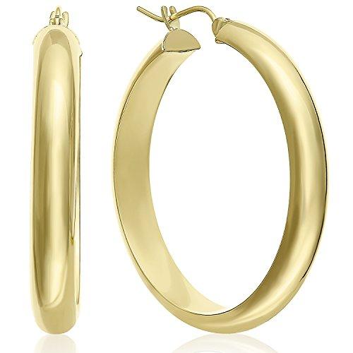 14k Hoop Band Gold Wedding (MCS Jewelry 14K Yellow Gold Round Hoop Earrings 5 mm (50 mm Diameter))
