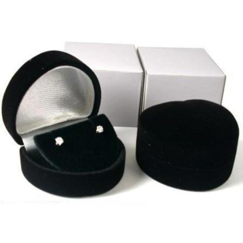 (2 Heart Earring Gift Boxes Black Showcase Display)