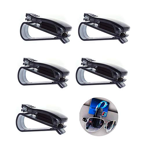 eKoi Sturdy Eye Glasses Sunglass Clip Holder Soft Mount for Car Sun Visor with Parking Ticket Pass Cash Card Pocket Insert (5 PCS) ()