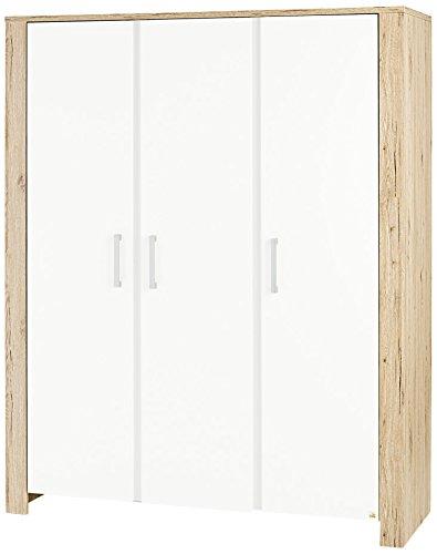 Pinolino 140056G  Kleiderschrank Candeo groß Dekor Eiche mit Echtholzstruktur und Uni, weiß