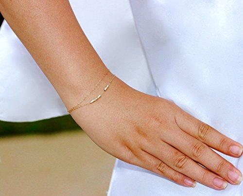 - Delicate Tiny Tube Bar Bracelet, 14K Gold Fill Double Chain or Sterling Silver Stacking Bracelet, Minimalist Jewelry, Two Strands Bracelet