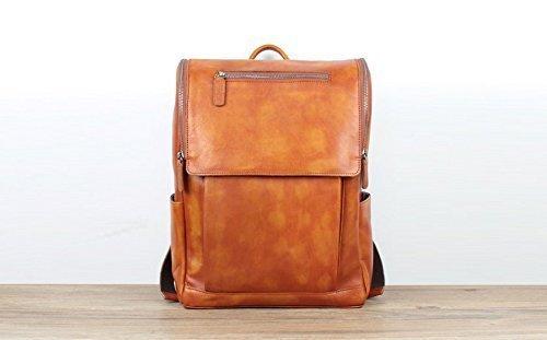 Handmade Original Design Brown Leather Laptop Backpack Rucksack Spaciousness Schoolbag Unisex Travel bag Business bag TKLS-002 by TK-LeatherStudio