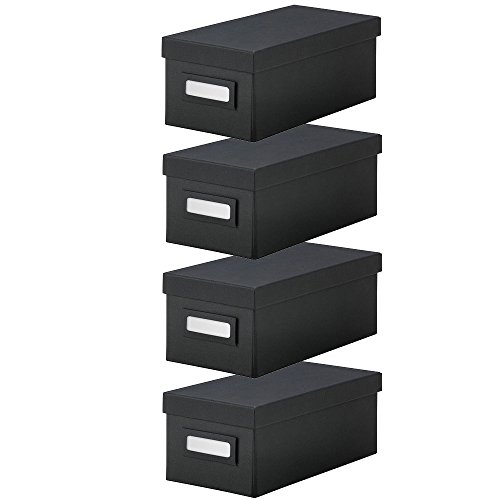 IKEA TJENA Box With Lid [BLACK][4 Pack of Boxes] - For Office - Storage - Supplies - Organization - Small Parts