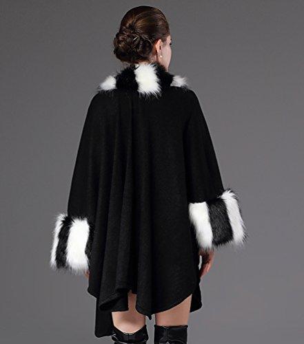 NiSeng Mujer capas cortos de pieles sinteticas para invierno estolas de piel poncons Negro