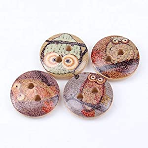 Buttons – 50pcs Mixed Owl Painted Wooden Round Button Sewing Craft Diy Decor Cloth Accessory 15mm Mt0438 – Game Seller Jewelry Video Today S Deal Clothing Toy Kitchen Dining Book