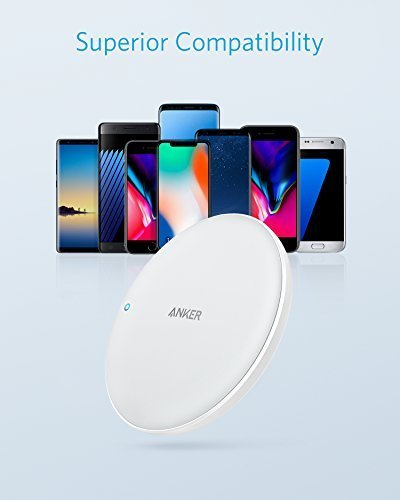 Anker PowerWave 7.5 Pad, 7.5W Fast Wireless Charger for iPhone X, iPhone 8/8 Plus, with 10W Fast Charge for Samsung Galaxy S9/S9+/S8/S8+/S7/Note 8, LG G7 (with Quick Charge 3.0 AC Adapter) by Anker (Image #5)