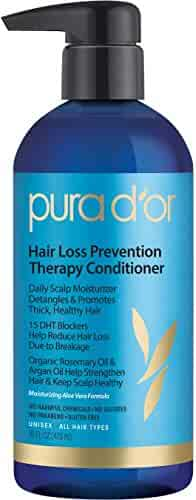 PURA D'OR Hair Thinning Therapy Conditioner for Added Moisture, Infused with Organic Argan Oil, Biotin & Natural Ingredients, 16 Fl Oz
