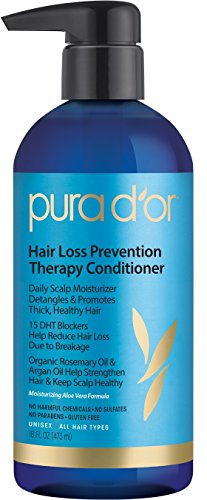 PURA D'OR Hair Loss Prevention Therapy Conditioner Increased Moisture Post-Shampoo Organic Argan Oil & Biotin, 16 Fluid Ounce