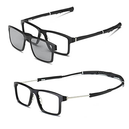 SUMDA Men sport myopia Eyeglass Frame Optical basketball Glasses + 2pcs sunglasses polarized lens