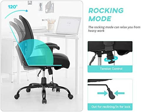 Big and Tall Office Chair 400lbs Wide Seat Mesh Desk Chair Massage Rolling Swivel Ergonomic Computer Chair