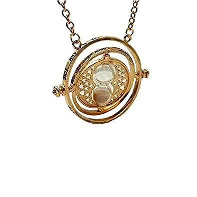 LOOKOUT Harry Potter: Hermione Rotating Silver Time Turner Necklace with Hourglass mPcj8Nm