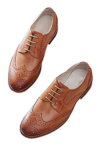 U-lite Dames Geperforeerde Vetersluiting Wingtip Pure Kleur Leer Plat Oxfords Vintage Oxford Schoenen Bruin