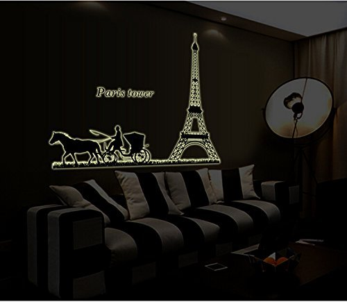 (ElecMotive Paris Tower Eiffel Tower Fluorescence Removable Night Glow in The Dark Luminous Mural Wall Stickers Decal)