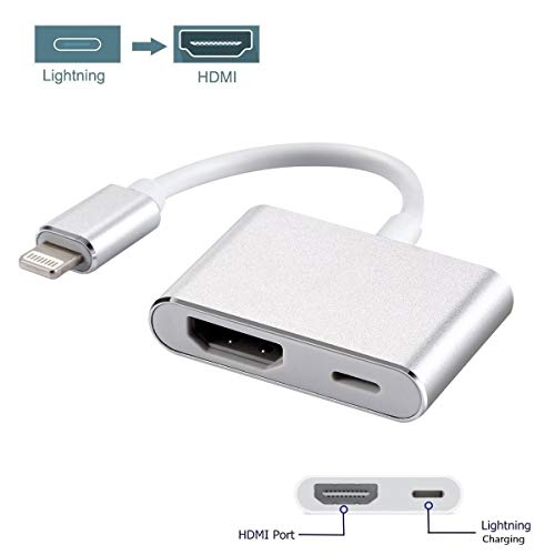 Lighting to HDMI Adapter, Digital AV Adapter 1080P HDTV Connector with Charging Port Compatible for iPhone Xs/XS Max/XR/X,iPhone 8/7/Plus iPad iPod