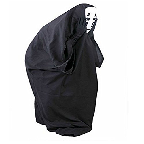 No-face Men Mask Halloween Faceless Kaonashi Cosplay Costume with Mask and (No Face Halloween Costume)
