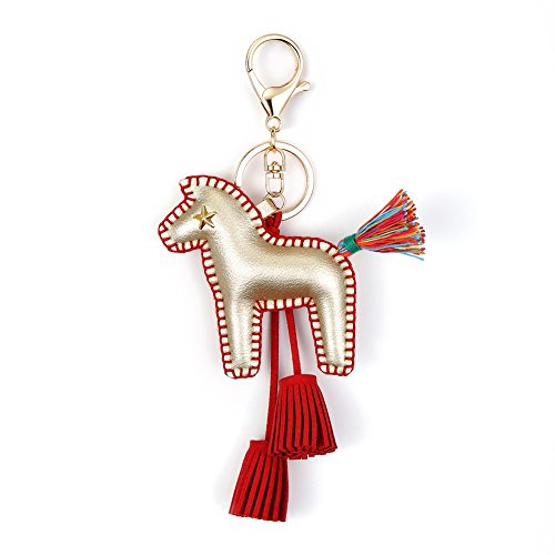 Horse Key Ring Chain, Nikang Handmade Leather Key Holder Metal Chain Charm With Tassels, Tassel key chain, Handbag Accessories, Fashion Item, Car Key Chain, Idea for Woman, Gold