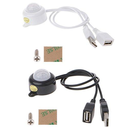 USB Human Body Infrared PIR Motion Sensor Switch for LED Strip Light DC5-24V - (Color: White)
