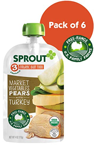 (Sprout Organic Stage 3 Baby Food Pouches, Market Vegetables Pears w/ Turkey, 4 Ounce (Pack of 6))