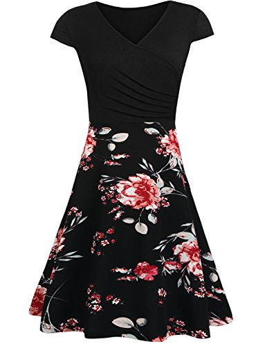 Hount Women Short Sleeve Floral Print Scoop Neck Casual Cocktail Dresses (XL, Multicolor (Print Short Sleeve Skirt)