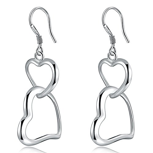 Double Heart Charm Jewelry (WIBERN a Pair Heart Link to Heart Earrings Silver Plated Luxurious Jewelry Fashion Princess Cute Prom Charm Hook Dangle Earrings for Women Best Gifts)