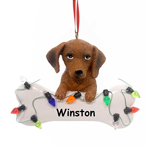 Personalized Brown Dachshund Dog and Bone Christmas Ornament - 3 - Ornament Teacup Terrier Christmas