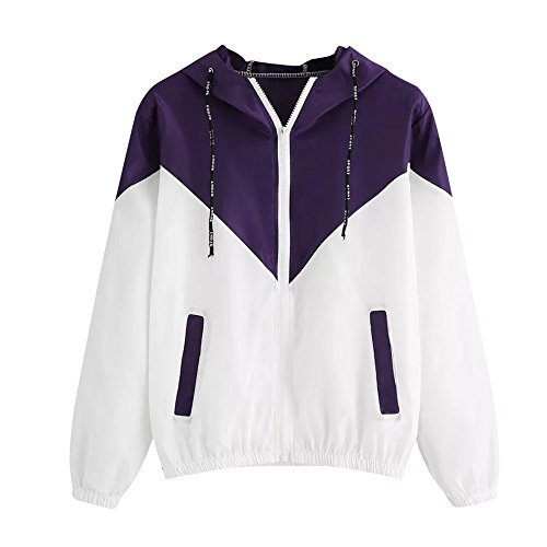 TWGONE Patchwork Hoodie Womens Pockets Jacket Long Sleeve Thin Hooded Zipper Sport Coat(US-10/CN-XL,Purple)