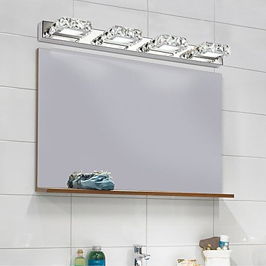 comeonlight Bathroom Vanity Light, LED Wall Lamp, 4-lights 6000K White 12W (Square Shape Crystal)