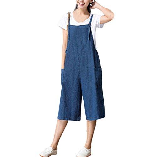 Button Welt Pockets (TAORE Womens Plus Size Classic Casual Strap Belt Bib Jumpsuit Overalls Pants Trousers (XL, Jean-Blue))