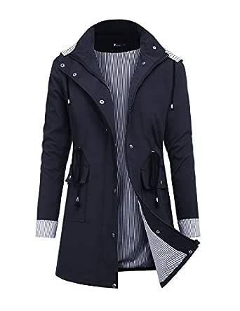 RAGEMALL Women's Raincoats Windbreaker Rain Jacket Waterproof Lightweight Outdoor Hooded Trench Coats (Long Style 01-Dark Blue, S)