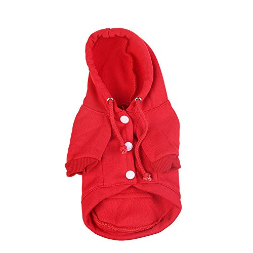 Lookvv Pets Dog Clothes Hoodie Hooded Costume Pullover Cotton Winter Warm Coat Puppy Corgi Clothing Red ()