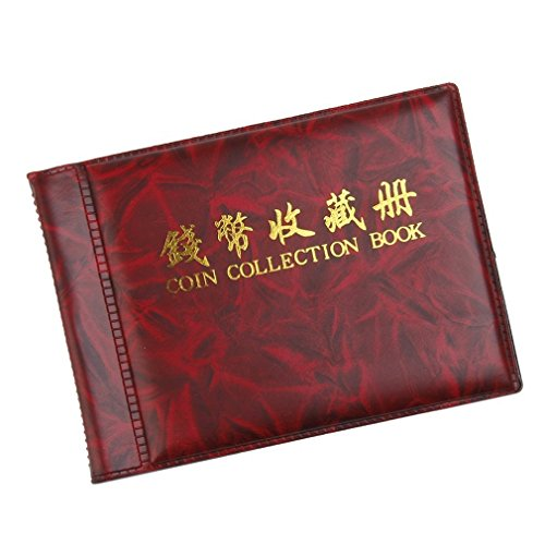 Bargain House Fashion Coin Collectors Booklet Collecting Album Coin Holders Collection Storage Coin Book Wine Red