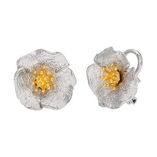Ellen Tracy Jewelry Sterling Silver Two Tone Textured Flower Earrings