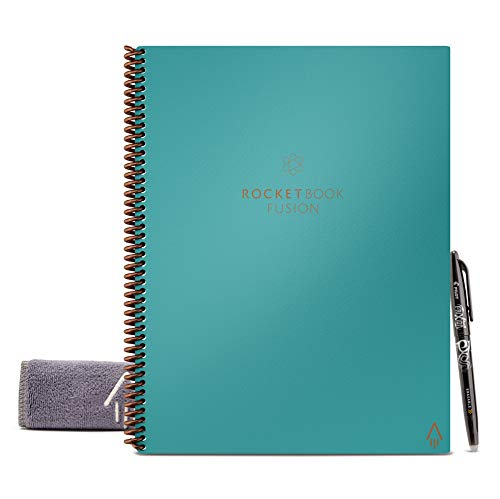Rocketbook Fusion Smart Reusable Notebook - Calendar, To-Do Lists, and Note Template Pages with 1 Pilot Frixion Pen & 1 Microfiber Cloth Included - Neptune Teal Cover, Letter Size (8.5 x 11)