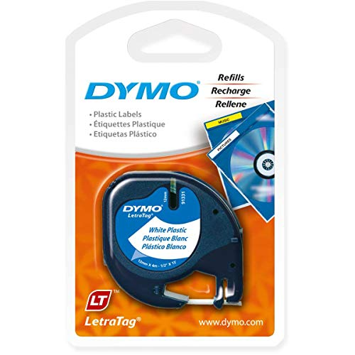 (DYMO 91331 LetraTag Labeling Tape for LetraTag Label Makers, Black Print on White Plastic Tape, 1/2'' W x 13' L, 1 Roll)