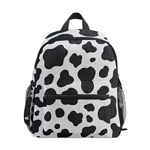 Mini Backpack Black White Cow Print School Bag Daypack Lightweight Small (Barney Water Bottle)
