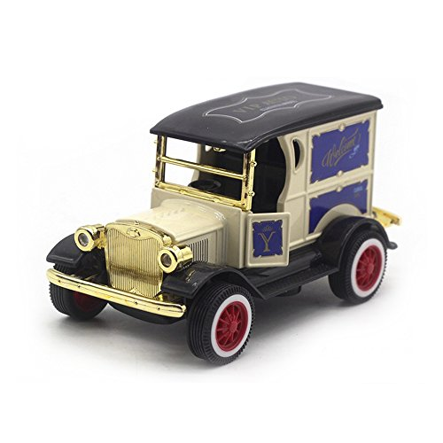 (LW Model T Vintage Cars Retro style 1:32 Scale Diecast car model collection light&sound (Yellow))