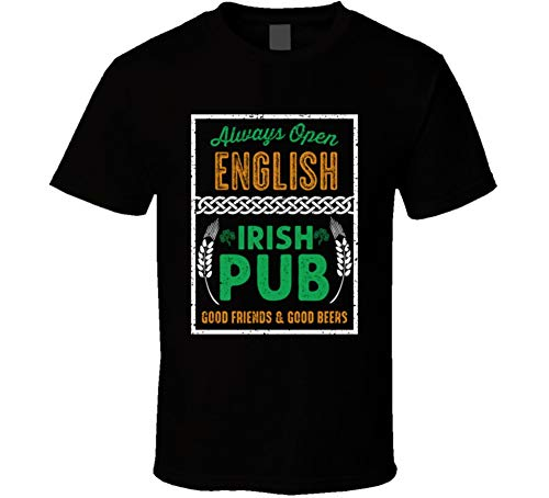English Pub Bar Beer Irish Name St Patricks Day T Shirt XL Black