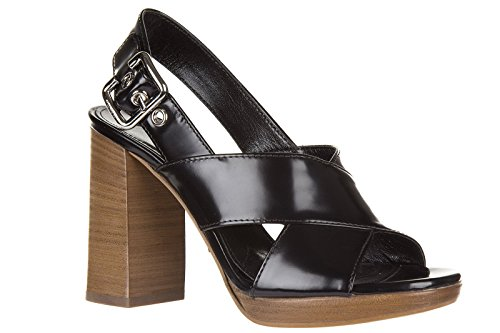Prada sandalias de tacón mujer en piel nuevo spazzolato negro