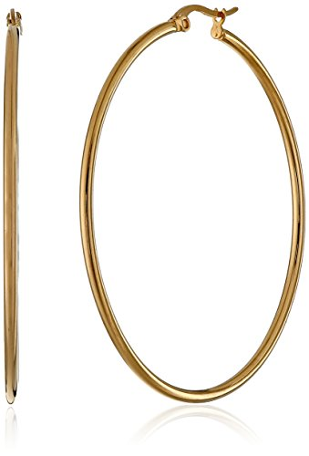Amazon Essentials Yellow Gold Plated Stainless Steel Rounded Tube Hoop Earrings (50mm) ()