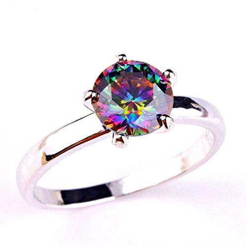 lingmei 8mm8mm Round Cut Cz Created MultiColor Stones Women's Ring US Size (Art Deco Wedding Band Platinum)