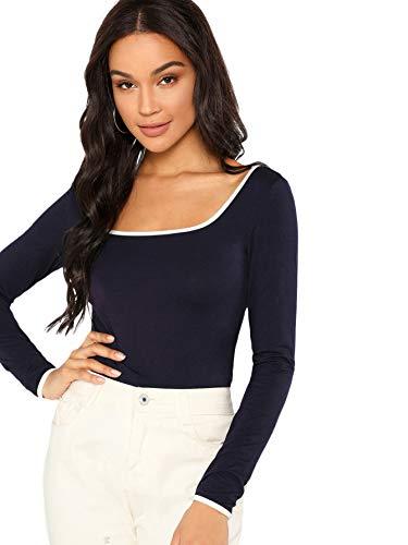 (MAKEMECHIC Women's Basic Long Sleeve Scoop Neck Ringer T-Shirt Blouses Navy M)