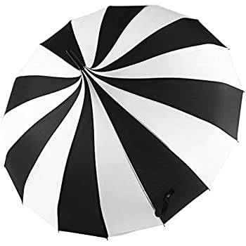 Kung Fu Smith Women Vintage Polka Dots Travel Stick Rain Pogoda Parasol Umbrella (Black White)