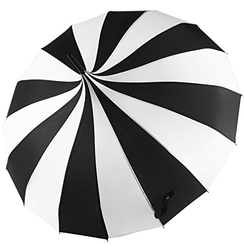 Kung Fu Smith Women Vintage Polka Dots Travel Stick Rain Pogoda Parasol Umbrella (Black White) -