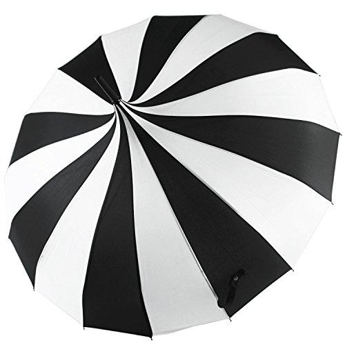Black Umbrella Parasol - Kung Fu Smith Women Vintage Polka Dots Travel Stick Rain Pogoda Parasol Umbrella (Black White)