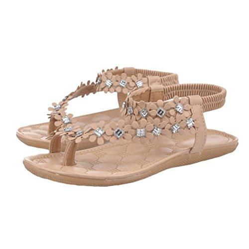 Goodsatar Mujer Verano Bohemia Cuentas de flores Flip-flop Zapatos Sandalias Planas Caqui