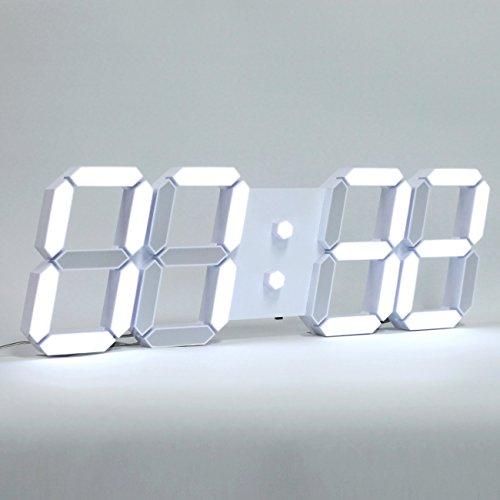 Jumbo Garden Solar Thermometer (ROIRETNI Modern LED Digital Wall Clock PLUS+ White / Mood Light (White/Cable 3.3m))