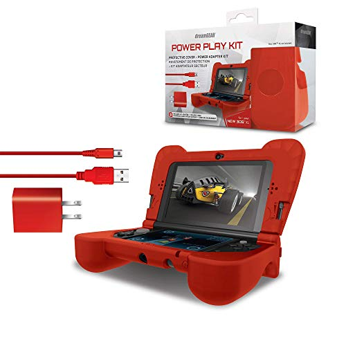 dreamGEAR Power Play Kit Accessories: Compatible with Nintendo NEW 3DS XL, 3-In-1 Bundle, Soft Comfort Grip Case, Charging Cable, AC Adapter, Red (Nintendo 3ds Power Case)