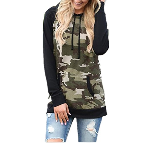 Taiduosheng Women's Long sleeve soft Pocket Hoodies Camouflage Print Pullover Hooded Sweatshirt Black,US L(Asia XL,Bust 41.5inch)